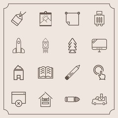 Modern, simple vector icon set with gun, house, hand, pencil, book, office, label, store, photo, stick, luggage, click, education, message, customer, truck, food, bullet, page, supermarket, sign icons
