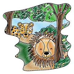 doodle adorable lion and leopard animals in the forest