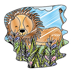 doodle adorable lion wild animal in the forest