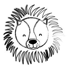 grunge adorable lion head wild animal