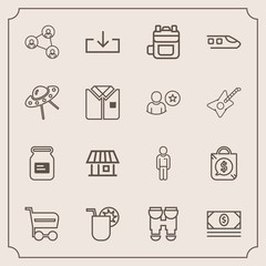 Modern, simple vector icon set with can, screen, cash, aluminum, price, web, container, display, juice, boy, travel, technology, trolley, bag, vision, coin, house, communication, rucksack, white icons