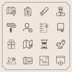 Modern, simple vector icon set with tag, page, scenery, stationary, hour, clock, time, landscape, map, sew, package, profile, craft, box, office, hourglass, present, bag, user, gift, price, sand icons
