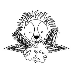 grunge lion head animal with bush flowers plants