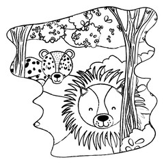 grunge adorable lion and leopard animals in the forest