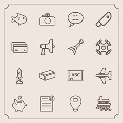 Modern, simple vector icon set with map, sea, white, airplane, sign, ship, photography, estate, money, material, document, speech, plane, chat, vessel, black, real, bank, camera, food, craft icons
