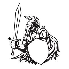 Spartan Warrior Drawing Vector