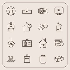 Modern, simple vector icon set with house, person, celebration, female, upload, swimming, trip, water, dumper, bullet, military, lady, present, construction, architecture, horizontal, girl, blue icons