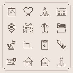 Modern, simple vector icon set with timetable, blank, sign, extreme, location, house, sack, tree, photo, science, bag, quad, architecture, business, calendar, nature, geometry, work, time, job icons