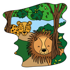 color adorable lion and leopard animals in the forest