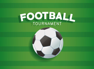 Football tournament banner with ball over green background vector illustration graphic design