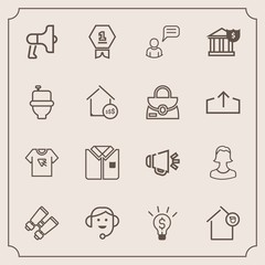 Modern, simple vector icon set with print, loudspeaker, banking, chat, megaphone, call, fashion, business, avatar, landlord, center, voice, toilet, award, spy, announcement, home, profile, loud icons