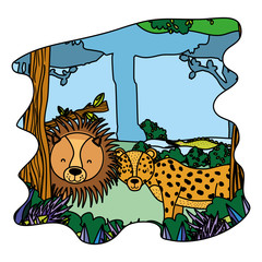 color adorable lion and leopard friends animals in the forest