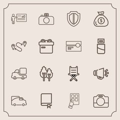 Modern, simple vector icon set with technology, lorry, traffic, vehicle, presentation, film, meeting, landscape, environment, modern, forest, chair, armchair, handle, white, people, study, video icons
