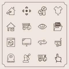 Modern, simple vector icon set with internet, button, key, click, pc, shipping, dump, truck, touch, online, arrow, alien, food, earth, character, technology, cartoon, satellite, concept, space icons