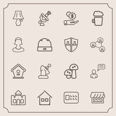 Modern, simple vector icon set with space, investment, building, bank, table, castle, estate, chat, dollar, food, wooden, bulb, mushroom, alcohol, medieval, bird, technology, nature, white, pub icons