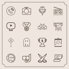 Modern, simple vector icon set with achievement, handle, background, music, first, ventilator, microphone, cooler, picture, film, light, scene, equipment, award, operator, help, circle, electric icons