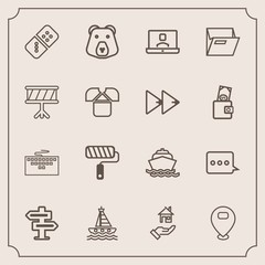 Modern, simple vector icon set with room, office, roll, doorknob, door, roller, paint, yacht, paper, hanger, map, boat, property, nature, computer, message, rent, bear, ocean, folder, file, sign icons