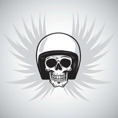 Vintage Biker Skull with Helmet and Wings
