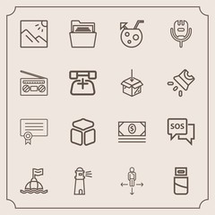 Modern, simple vector icon set with photography, usb, success, light, photo, safety, life, technology, danger, file, paper, help, landscape, sos, direction, sea, blank, cable, cash, water, money icons
