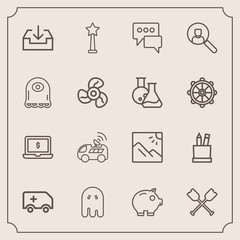Modern, simple vector icon set with screen, navigation, landscape, success, money, boat, oar, bank, vehicle, halloween, education, notebook, ghost, emergency, scenery, cash, travel, sign, fear icons