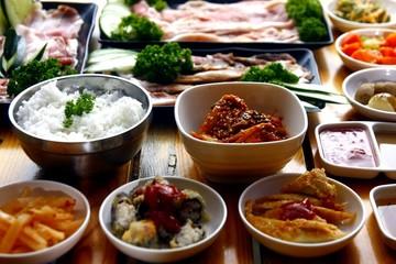 Fresh ingredients of a Korean dish