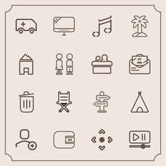 Modern, simple vector icon set with button, pc, trash, laptop, camp, furniture, internet, cash, player, way, car, garbage, travel, can, money, palm, note, summer, computer, delete, chair, arrow icons