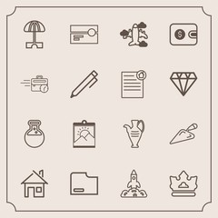 Modern, simple vector icon set with aircraft, photo, home, space, sign, medicine, summer, royal, flight, travel, pottery, frame, vase, queen, building, house, launch, cassette, jug, stereo, tool icons