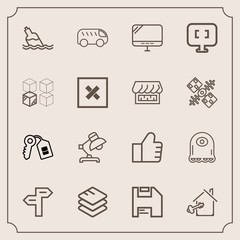 Modern, simple vector icon set with estate, alien, way, cartoon, concept, shop, replacement, liquid, computer, business, lamp, water, relocation, home, information, house, key, internet, monster icons