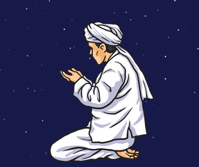 Praying in Ramadan Kareem with Stars Light Background. Card and Banner Template. Vector Illustration