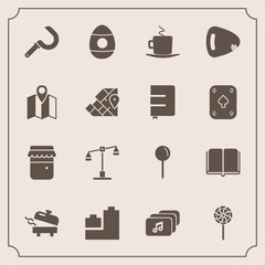 Modern, simple vector icon set with guitar, pin, cafe, education, map, cappuccino, textbook, agriculture, justice, ball, coffee, judge, book, candy, harvest, library, balance, food, water, play icons