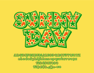 Vector bright text Sunny Day. Floral pattern Font. Decorative Alphabet Letters, Numbers and Symbols for Children