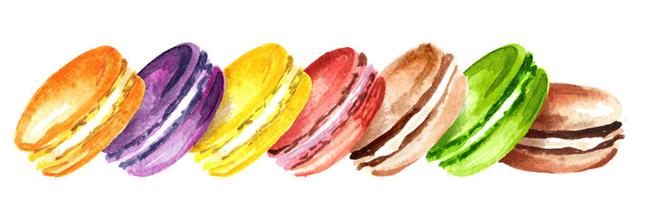 Traditional french Cake macaron or macaroon, colorful almond cookies. Watercolor hand drawn horizontal illustration, isolated on white background