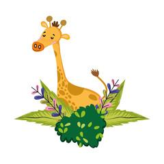 nice giraffe animal with bush plants and flowers