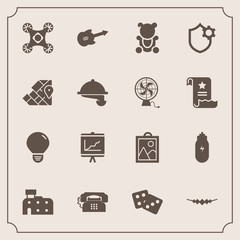 Modern, simple vector icon set with annual, restaurant, bulb, casino, guitar, document, phone, picture, teddy, accessory, waitress, necklace, cute, gambling, camera, idea, world, communication icons