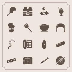 Modern, simple vector icon set with chicken, pin, jacket, sign, lifestyle, sickle, camera, food, pill, no, elevator, vest, candy, lollipop, pointer, safety, clothing, bird, communication, sweet icons