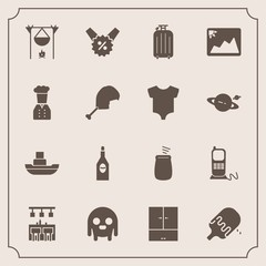 Modern, simple vector icon set with business, telephone, stationary, dessert, ufo, price, bonfire, ship, boat, musical, sign, hot, alcohol, ice, drink, sea, fireplace, travel, alien, monster icons
