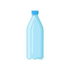 Plastic bottle with blue lid for drinking water. Transparent container for liquids. Flat vector element for banner, poster or flyer