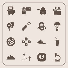 Modern, simple vector icon set with research, headwear, robot, decoration, fire, cold, point, destination, heart, restaurant, hotel, travel, candle, science, position, fun, biology, broken, game icons