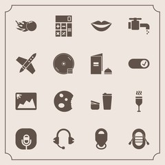 Modern, simple vector icon set with glass, lips, sign, accounting, cup, cafe, sink, drink, teeth, sound, image, alcohol, frame, female, calculator, bathroom, comet, map, water, business, picture icons