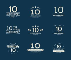 10 - year anniversary celebrating logotype. 10th anniversary logo set.