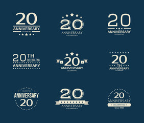 20 - year anniversary celebrating logotype. 20th anniversary logo set.