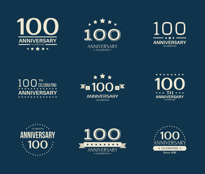 100 - year anniversary celebrating logotype. 100th anniversary logo set.