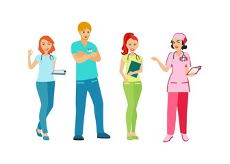 Doctors and nurses in uniform. People with a medical profession. Medical staff. Isolated icon on white background. Vector illustration.