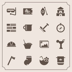 Modern, simple vector icon set with alcohol, drink, photo, glass, bathroom, coupon, wrench, spanner, work, soft, martini, juice, snorkel, towel, food, hammer, picture, chinese, helmet, activity icons