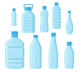 Flat vector set of empty plastic bottles in different shapes. Transparent containers for water. Elements for promo poster or banner