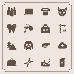 Modern, simple vector icon set with brochure, garden, talk, food, ufo, monster, work, paper, nature, environment, cut, landscape, tree, cone, speech, add, sport, bike, service, restaurant, space icons