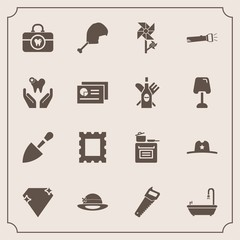 Modern, simple vector icon set with healthy, bird, tool, health, kitchen, toilet, shovel, photo, clean, hat, sign, saw, cooking, modern, chicken, nature, gem, flashlight, blossom, texas, care icons