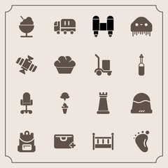 Modern, simple vector icon set with foot, car, school, cap, add, office, fashion, strategy, sign, chess, home, icecream, monster, ice, headwear, cargo, rocket, baby, space, chair, cream, game icons