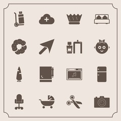 Modern, simple vector icon set with vegetable, bed, crown, transportation, camera, delivery, music, pram, double, doughnut, shipping, cargo, baby, king, stroller, photographer, notepad, food icons