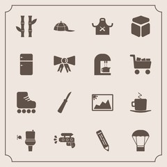 Modern, simple vector icon set with skate, restroom, chief, fun, clothing, nature, kitchen, picture, balloon, bamboo, plant, play, pen, cafe, pencil, air, hat, coffee, leisure, hot, toilet, gun icons